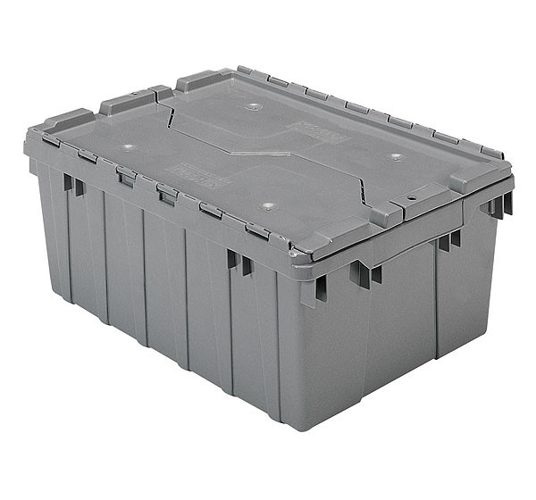 Akro 39085 Grey Attached Lid Container