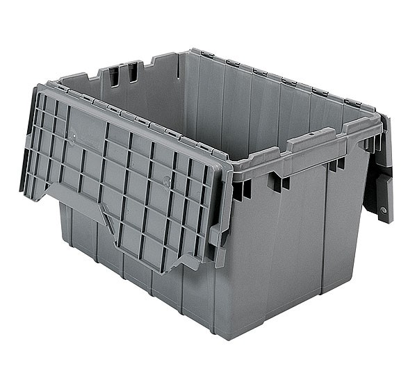 Akro 39120 Grey Attached Lid Container