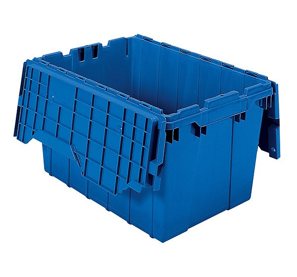 Akro 39120 Blue Attached Lid Container