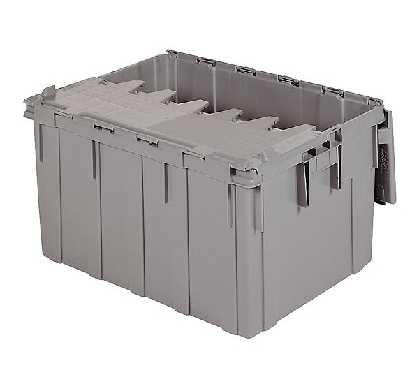 Akro 39280 Grey Attached Lid Container